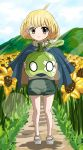 1girl absurdres ahoge barefoot_sandals blonde_hair bob_cut cape clouds cloudy_sky dr._stone english_commentary epicmilk flower food fruit full_body green_shorts highres holding holding_food holding_fruit jewelry leaf looking_at_viewer mountain necklace outdoors rope rope_necklace sandals short_hair shorts sky smile solo suika_(dr.stone) sunflower watermelon yellow_eyes