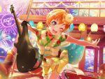 bang_dream! blush kitazawa_hagumi orange_hair red_eyes short_hair smile wink yukata