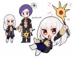 1boy 1girl blue_legwear closed_mouth do_m_kaeru fire_emblem fire_emblem:_three_houses garreg_mach_monastery_uniform holding holding_staff long_hair long_sleeves lorenz_hellman_gloucester lysithea_von_ordelia open_mouth pink_eyes purple_hair short_hair simple_background staff twitter_username uniform violet_eyes white_background white_hair