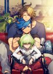 3boys blonde_hair blue_eyes casual couch crossed_arms dress_shirt galo_thymos green_hair kray_foresight lio_fotia male_focus mechanical_arm multiple_boys one_eye_closed pillow promare routo shirt short_hair sitting sitting_on_lap sitting_on_person size_difference smile spiky_hair t-shirt violet_eyes
