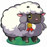 1other animal_ears artist_name black_eyes commentary creatures_(company) game_freak gen_8_pokemon heart highres horns nintendo no_humans olm_digital pokemon pokemon_(anime) pokemon_(creature) pokemon_(game) pokemon_swsh sheep smile woofzilla wooloo