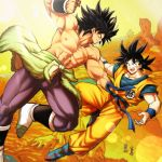 1girl 3boys abs black_eyes black_hair blurry bokeh boots broly_(dragon_ball_super) cheelai chest_scar clenched_hand clothes_around_waist clothes_writing day depth_of_field dougi dragon_ball dragon_ball_super_broly fighting fighting_stance fingernails floating_hair flying from_above frown full_body highres horizon lemo_(dragon_ball) light_rays looking_at_another looking_down looking_up mattari_illust mountain multiple_boys muscle nipples open_mouth orange_sky outdoors pectorals profile purple_legwear scar shirtless sky son_gokuu spiky_hair standing sun sunlight teeth waist_cape white_footwear wristband
