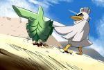 blue_sky commentary_request day dutch_angle gen_8_pokemon gundam gundam_08th_ms_team looking_away no_humans nukokoko parody pokemon pokemon_(creature) pokemon_(game) pokemon_swsh shield sirfetch'd sky standing