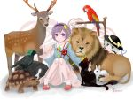 2girls animal bare_legs beagle bird black_headwear blue_shirt bobby_socks bow cat collared_shirt coronet0407 deer dog dot_nose floral_background frilled_sleeves frills green_hair hat hat_bow headband kaenbyou_rin kaenbyou_rin_(cat) komeiji_koishi komeiji_satori lavender_eyes lavender_hair lion looking_at_another macaw multiple_girls parrot pink_skirt rabbit reiuji_utsuho reiuji_utsuho_(bird) shirt short_hair siblings sitting skirt slippers smile socks third_eye tortoise touhou turtle veins wide_sleeves yellow_bow