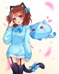 >_< 1girl :3 :o animal_ears aran_sweater artist_name bangs black_legwear blue_bow blue_eyes blue_neckwear blue_sweater blush borrowed_character bow bowtie brown_hair cat_ears cat_girl cat_tail commission creature dress eyebrows_visible_through_hair fang garter_straps gradient gradient_background hair_bow hand_up head_tilt heart hyanna-natsu long_sleeves looking_at_viewer open_mouth original petals solo sweater sweater_dress tail tail_bow thigh-highs two_side_up white_background zettai_ryouiki