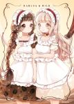 2girls apron bell bell_choker blonde_hair blush bow bow_choker braid breasts brown_dress brown_eyes brown_hair choker coffee_beans_print dress highres long_hair maid_apron maid_headdress multiple_girls no_nose omimi_(hoppe033) original puffy_sleeves red_bow red_ribbon ribbon short_sleeves smile twin_braids twitter_username yellow_background yellow_dress yellow_eyes