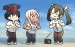 3girls :3 alternate_costume black_hair blue_eyes brown_eyes closed_eyes dancing flower flying_sweatdrops grey_hair hair_between_eyes hair_flower hair_ornament hamu_koutarou highres i-13_(kantai_collection) kantai_collection long_hair looking_at_another looking_to_the_side multiple_girls outdoors radio remodel_(kantai_collection) ribbon ro-500_(kantai_collection) shirt shoes short_hair sweatdrop twintails uwu white_ribbon zui_zui_dance zuikaku_(kantai_collection)