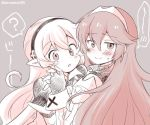 2girls closed_mouth corrin_(fire_emblem) corrin_(fire_emblem)_(female) eromame fingerless_gloves fire_emblem fire_emblem_awakening fire_emblem_fates gloves grey_background hairband long_hair lucina_(fire_emblem) manakete monochrome multiple_girls open_mouth pointy_ears simple_background smile tiara twitter_username yuri