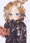 1girl :o abigail_williams_(fate/grand_order) absurdres bangs black_bow black_jacket blonde_hair blue_eyes blush bow commentary_request crossed_bandaids eyebrows_behind_hair fate/grand_order fate_(series) grey_background hair_bow hair_bun hand_up heroic_spirit_traveling_outfit highres jacket long_hair long_sleeves looking_at_viewer mike3284 object_hug orange_bow parted_bangs parted_lips polka_dot polka_dot_bow signature simple_background sleeves_past_fingers sleeves_past_wrists solo stuffed_animal stuffed_toy teddy_bear
