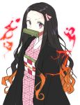 1girl bangs bit_gag black_hair breasts commentary energy gag hair_ribbon highres japanese_clothes kamado_nezuko kimetsu_no_yaiba kimono long_hair long_sleeves looking_at_viewer multicolored_hair pink_eyes pink_kimono ribbon simple_background solo urim_(paintur) white_background