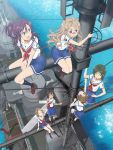 6+girls bangs beads blue_eyes blue_skirt braid braided_ponytail brown_hair buoy cable climbing closed_eyes dark_green_hair deck deck_gun destroyer glasses grey_eyes hair_ornament hair_ribbon hand_on_hip hand_on_own_chest high_school_fleet highres katsuta_satoko ladder looking_at_viewer mast military military_vehicle multiple_girls noma_machiko ocean official_art open_mouth pleated_skirt ribbon ringlets school_uniform ship shirt sitting skirt smile socks standing straddling uchida_mayumi uda_megumi violet_eyes warship water watercraft white_shirt yagi_tsugumi yamashita_hideko