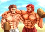 2boys abs absurdres alternate_costume bara beach beard beer_mug blue_eyes brown_hair chest closed_eyes facial_hair fate/grand_order fate_(series) highres kamisironirey male_focus multiple_boys muscle napoleon_bonaparte_(fate/grand_order) nipples pants pectorals rider_(fate/zero) scar simple_background smile swimsuit teeth topless upper_body