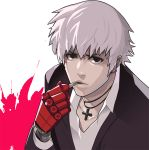 1boy blood blood_splatter brown_eyes cigarette cross cross_necklace formal gloves jewelry k' male_focus necklace pale_skin pink_blood red_glove single_glove smoking solo steward_b suit the_king_of_fighters white_hair