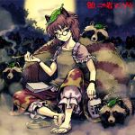 1girl animal_ears brown_eyes brown_shirt character_name fog futatsuiwa_mamizou glasses holding holding_pipe jar leaf leaf_on_head lowres meimaru_inuchiyo moon night pipe raccoon_ears raccoon_tail red_eyes red_skirt shirt sitting skirt smile smoke smoking tail tanuki touhou wristband