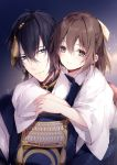 1boy 1girl bangs black_hair blue_eyes blush bow brown_bow brown_eyes brown_hair closed_mouth commentary_request eyebrows_visible_through_hair female_saniwa_(touken_ranbu) hair_between_eyes hair_bow hug hug_from_behind japanese_clothes kimono long_hair long_sleeves mikazuki_munechika miko mochizuki_shiina saniwa_(touken_ranbu) sayagata smile touken_ranbu white_kimono wide_sleeves