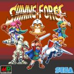 2boys 3girls adam_(shining) arm_cannon arm_up armor blonde_hair blue_cape blue_eyes bridal_gauntlets brown_eyes brown_footwear cape centaur chip_(shining_force) clenched_hand elf gloves gradient gradient_background greaves green_cape green_headband green_headwear headband helmet holding holding_lance holding_rod holding_shield holding_staff holding_sword holding_weapon jogurt_(shining_force) lance looking_at_viewer mae_(shining_force) max_(shining_force) multiple_boys multiple_girls open_mouth pink_hair pixel_art pixelflag pointy_ears polearm ponytail purple_robe red_eyes robot sega shield shining_(series) shining_force_i short_sleeves simple_background staff sword tao_(shining_force) weapon