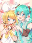2girls aqua_eyes aqua_hair aqua_neckwear arm_warmers banana bangs bare_shoulders black_collar blonde_hair blue_eyes bow collar commentary crepe crop_top detached_sleeves eating food fruit grey_shirt hair_bow hair_ornament hair_ribbon hairclip hatsune_miku heart highres holding holding_food holding_hands ice_cream ice_cream_cone kagamine_rin long_hair multiple_girls neckerchief necktie open_mouth ribbon sailor_collar school_uniform shirt short_hair shoulder_tattoo sleeveless sleeveless_shirt smile strawberry swept_bangs tatibanamarin tattoo treble_clef twintails upper_body very_long_hair vocaloid waffle_cone white_bow white_shirt yellow_neckwear yuri