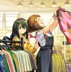 2girls asui_tsuyu black_hair boku_no_hero_academia bracelet brown_hair clothes_hanger hair_between_eyes hair_ornament hairband hairclip hat holding holding_shirt jewelry long_hair long_sleeves multiple_girls open_mouth overalls profile shirt shoes shopping short_hair short_sleeves smile tamomoko uraraka_ochako white_shirt yellow_shirt
