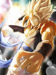 1boy abs aqua_background backlighting biceps blonde_hair blurry bokeh clothes_around_waist clothes_lift colorful dark_background depth_of_field dragon_ball dragon_ball_z expressionless fingernails frown gogeta green_eyes highres light_rays looking_at_viewer male_focus mattari_illust multicolored multicolored_background muscle orange_background outstretched_arms pants purple_background red_background serious shaded_face spiky_hair super_saiyan waistcoat white_background white_pants wristband