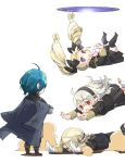 2boys 2girls black_bow black_hairband black_legwear blonde_hair blue_hair bow brother_and_sister byleth_(fire_emblem) byleth_(fire_emblem)_(male) circlet corrin_(fire_emblem) corrin_(fire_emblem)_(female) cosplay elise_(fire_emblem) fire_emblem fire_emblem:_three_houses fire_emblem_fates garreg_mach_monastery_uniform gloves hair_bow hairband long_hair long_sleeves manakete multicolored_hair multiple_boys multiple_girls open_mouth pointy_ears purple_hair red_eyes robaco short_hair siblings simple_background twintails uniform violet_eyes white_background white_gloves white_hair xander_(fire_emblem)