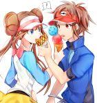 1boy 1girl blue_eyes blue_jacket blue_sleeves breasts brown_hair double_bun floating_hair jacket kyouhei_(pokemon) lack-two_(pokemon) long_hair medium_breasts mei_(pokemon) pantyhose poke_ball_print pokemon pokemon_(game) pokemon_bw2 pokemon_special raglan_sleeves red_eyes shirt short_sleeves simple_background standing twintails very_long_hair visor_cap whi-two_(pokemon) white_background white_shirt yuhi_(hssh_6)