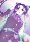 1elda1 1girl absurdres animal_print bangs belt belt_buckle black_hair black_jacket blue_butterfly blush breasts buckle butterfly_hair_ornament butterfly_print closed_mouth from_below gradient gradient_background gradient_hair hair_ornament hand_in_hair hand_up haori highres jacket japanese_clothes kimetsu_no_yaiba kochou_shinobu light_particles lips long_sleeves looking_at_viewer md5_mismatch multicolored_hair open_clothes parted_bangs purple_hair sidelocks simple_background smile solo two-tone_hair uniform violet_eyes white_belt wide_sleeves