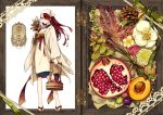 1girl acorn akagi_shun arm_at_side beads box bucket earrings flower flower_request food food_request fruit geta green_ribbon hair_over_one_eye head_scarf herb_bundle holding japanese_clothes jewelry kappougi labcoat lace long_hair looking_at_viewer lotus_root original outside_border peach pigeon-toed pomegranate red_eyes redhead ribbon rope sash solo standing white_background white_flower wooden_bucket