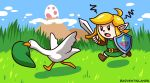 1boy adventislands angry blonde_hair chasing chibi goose_(untitled_goose_game) hat highres link mountain pointy_ears shield sword the_legend_of_zelda the_legend_of_zelda:_link's_awakening untitled_goose_game weapon