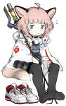 1girl absurdres ahoge animal_ear_fluff animal_ears arknights badge bangs barefoot black_legwear blue_eyes brown_hair caduceus coffee_cup collar cup disposable_cup dot_nose fox_ears fox_girl fox_tail frown full_body highres holding holding_staff hooded_coat long_sleeves looking_at_viewer medic menla no_shoes pantyhose pouch shoes shoes_removed short_hair sitting sneakers soles solo staff sussurro_(arknights) tail toes white_background white_coat