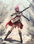 1girl armlet bangs bare_shoulders belt blue_gloves boots brown_skirt chuby_mi dress elbow_sleeve english_commentary final_fantasy final_fantasy_xiii fingerless_gloves full_body gloves highres holding holding_sword holding_weapon legs lightning_farron lightning_returns:_final_fantasy_xiii medium_hair miniskirt pink_hair pouch skirt standing sword ves weapon white_dress