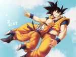 2boys :d arms_at_sides bald black_eyes black_hair blue_footwear blue_sky blurry bokeh boots closed_eyes clothes_writing clouds cloudy_sky copyright_name crying day depth_of_field dougi dragon_ball dragon_ball_z dutch_angle floating floating_hair full_body hand_on_another's_chest happy happy_tears highres hug kuririn looking_at_another looking_down male_focus mattari_illust multiple_boys muscle number open_mouth outdoors profile shaded_face sky smile son_gokuu spiky_hair tears waist_hug wristband