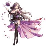 armpits bare_shoulders black_flower black_rose blush bouquet breasts bridal_gauntlets bridal_legwear bridal_veil circlet dress fingerless_gloves flower garters gloves hair_flower hair_ornament high_heels king's_raid large_breasts lewisia_(king's_raid) long_hair official_art petals rose silver_hair thigh-highs thorn_print transparent_background veil wedding_dress yellow_eyes