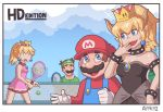 2boys 2girls ayyk92 ball blonde_hair blue_earrings blue_eyes bowsette bracelet brown_hair collar crown english_text facial_hair hat jewelry long_hair luigi mario mario_tennis multiple_boys multiple_girls mustache nintendo overalls princess_peach racket short_hair spiked_armlet spiked_bracelet spiked_collar spikes sportswear super_crown tennis_ball tennis_court tennis_racket tennis_uniform visor_cap