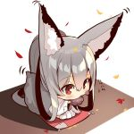 1girl animal_ear_fluff animal_ears autumn_leaves bangs barefoot blush chibi commentary_request cushion ear_wiggle eating eyebrows_visible_through_hair food fox_ears fox_girl fox_tail from_above hair_between_eyes holding holding_food japanese_clothes kimono long_hair long_sleeves looking_away motion_lines original patches ponytail red_eyes sidelocks silver_hair sitting solo tail very_long_hair wariza white_background white_kimono wide_sleeves yuuji_(yukimimi) zabuton