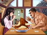 1boy 1girl akagi_(kantai_collection) belt black_eyes black_hair blush chair closed_eyes eating facial_hair final_fight food_request hakama indoors japanese_clothes kantai_collection long_hair mike_haggar muscle mustache poster sidelocks sitting spoon table taka_(takahirokun) wide_sleeves window