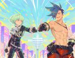 2boys belt black_gloves black_jacket blue_hair cityscape cravat cwilocky fist_bump galo_thymos gloves green_hair half_gloves jacket lio_fotia male_focus multiple_boys open_mouth promare shirtless short_hair smile spiky_hair violet_eyes