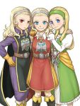 3girls anlucea arinsu_(kodamamaimai) belt blonde_hair blue_eyes blush dark_persona dragon_quest dragon_quest_x dragon_quest_xi earrings frown gloves green_hairband hairband hand_on_another's_shoulder jewelry long_hair multiple_girls rapier red_eyes senya_(dq11) smile sword tabard weapon white_background