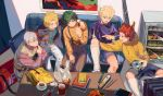 5boys arm_around_shoulder bag bakugou_katsuki bangs blonde_hair blue_eyes blue_shirt boku_no_hero_academia book cd chopsticks collared_shirt couch cup electric_guitar food green_eyes green_hair green_shirt grey_hair guitar instrument kaminari_denki kirishima_eijirou long_sleeves midoriya_izuku multicolored_hair multiple_boys open_mouth pants platinum_blonde_hair pointing purple_shirt red_eyes redhead refrigerator shirt shorts sitting smile socks sweater sweater_vest table tamomoko teacup todoroki_shouto two-tone_hair vest white_legwear yellow_eyes yellow_shirt