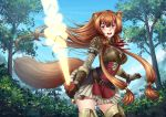 1girl adsouto animal_ears blush boobplate breastplate breasts brown_hair medium_breasts miniskirt pink_eyes raphtalia skirt squirrel_ears squirrel_tail sword tagme tail tanuki tate_no_yuusha_no_nariagari thigh-highs weapon zettai_ryouiki