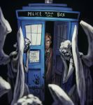 1boy blood blood_stain brown_hair curly_hair doctor_who hand_print koto_inari necktie police_box poster_(object) statue tardis tenth_doctor the_doctor weeping_angel