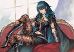 1girl absurdres black_skirt blue_eyes boots breasts byleth_(fire_emblem) byleth_(fire_emblem)_(female) cape clouds couch fire_emblem fire_emblem:_three_houses gauntlets green_hair high_heel_boots high_heels highres knee_boots leg_up long_hair midriff navel pantyhose patterned_clothing pengnangehao simple_background skirt solo window