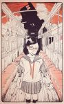 1girl black_hair black_legwear border clouds cotoh_tsumi feet_out_of_frame glasses highres leaf limited_palette looking_at_viewer medium_hair original plant pleated_skirt red-framed_eyewear red_sky shirt short_sleeves skirt sky solo standing train_interior white_shirt