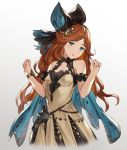1girl bangs bare_shoulders black_bow black_hairband black_ribbon blue_cape blue_eyes bow bracelet breasts brown_dress cape collarbone dress gradient gradient_background granblue_fantasy grey_background hair_ribbon hairband hands_up highres houtengeki jewelry long_hair looking_at_viewer open_mouth orange_hair parted_bangs ribbon sara_(granblue_fantasy) simple_background small_breasts solo upper_body
