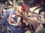 2girls black_skirt black_vest blonde_hair blue_dress blue_eyes blue_hair blurry bow broken_wall commentary demon_wings depth_of_field dress elis_(touhou) eyebrows_visible_through_hair facial_mark fang flower hair_between_eyes hair_bow hair_flower hair_ornament hand_on_another's_back hand_on_another's_neck hand_on_another's_shoulder highres katayama_kei leg_lift long_hair long_sleeves looking_at_viewer multiple_girls multiple_wings night night_sky petals petticoat sariel shirt sideways_glance skirt skull sky slit_pupils star touhou touhou_(pc-98) very_long_hair vest white_shirt window wings yellow_eyes yuri