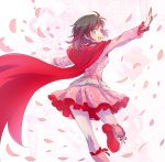 1girl boots cape cherry_blossoms commentary_request cross-laced_footwear dress floral_background floral_print highres iesupa knee_boots lace-up_boots looking_back pantyhose petals pink_dress pink_footwear rooster_teeth ruby_rose rwby smile