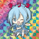 1girl ;d absurdly_long_hair bangs bikkuriman_(style) blue_bow blue_dress blue_eyes blue_footwear blue_hair blush book bow character_name chibi dress eyebrows_visible_through_hair flower_knight_girl frilled_legwear full_body hair_between_eyes hair_bow high_ponytail long_hair nerine_(flower_knight_girl) object_hug one_eye_closed open_mouth parody ponytail puffy_short_sleeves puffy_sleeves rinechun shoes short_sleeves smile solo standing thigh-highs very_long_hair white_legwear