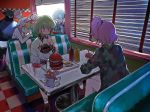 aina_ardebit back blue_eyes blue_hair blush diner double_bun dress drink eating fast_food food french_fries glasses hamburger ketchup lio_fotia long_hair lucia_fex mouse multicolored_hair oversized_clothes pink_hair promare remi_puguna restaurant short_hair side_ponytail sitaka72sita soda sunglasses sweater two-tone_hair varys_truss vinny_(promare)