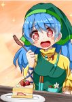 +_+ 1girl apron arm_ribbon arm_up blue_hair cake commentary_request daisy dress eyebrows_visible_through_hair flower food fork fruit gradient gradient_background green_hood hair_between_eyes haniyasushin_keiki head_tilt high_collar highres holding holding_fork hood long_hair magatama magatama_necklace open_mouth orange_background plate puffy_short_sleeves puffy_sleeves pun red_eyes ribbon short_sleeves shortcake solo sparkle strawberry sugiyama_ichirou tools touhou upper_body very_long_hair yellow_dress
