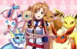 1girl arms_behind_back asuna_(sao) brown_eyes brown_hair crossover eevee eeveelution flareon happy jolteon long_hair mew pokemon sincity2100 smile sword_art_online sylveon vaporeon