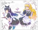 2girls apron black_hair blake_belladonna blonde_hair cocktail cocktail_glass cocktail_umbrella commentary_request cup drinking_glass floral_background food fruit highres ice_cream iesupa maid maid_apron maid_headdress multiple_girls parfait prosthesis prosthetic_arm rwby strawberry sundae thigh-highs tray violet_eyes wafer_stick waitress yang_xiao_long yellow_eyes